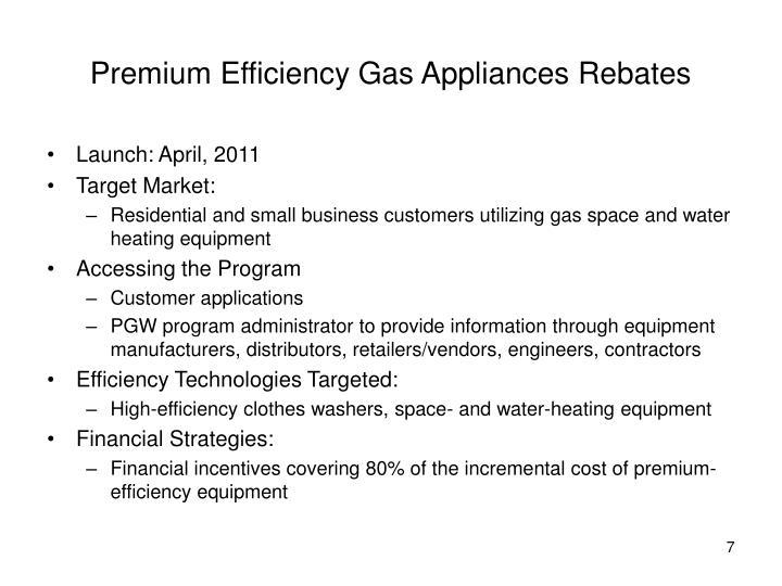 Premium Efficiency Gas Appliances Rebates