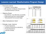 lessons learned weatherization program design