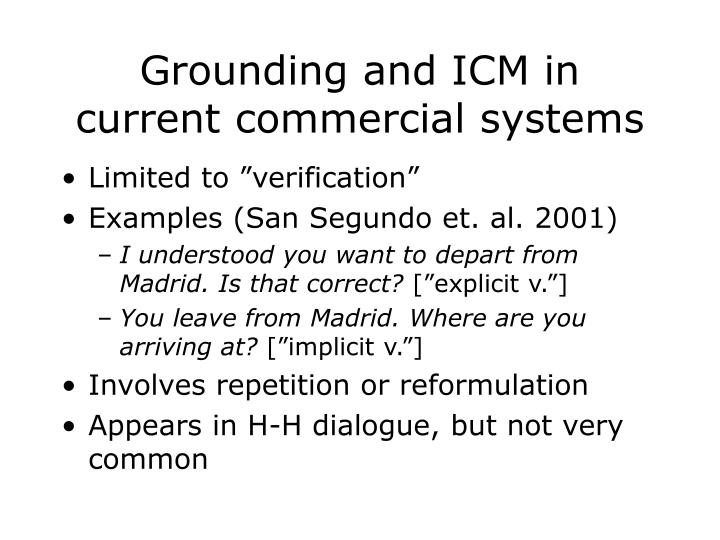 Grounding and ICM in current commercial systems