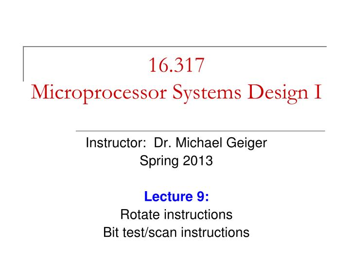 16 317 microprocessor systems design i n.