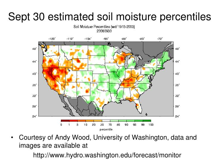 Sept 30 estimated soil moisture percentiles