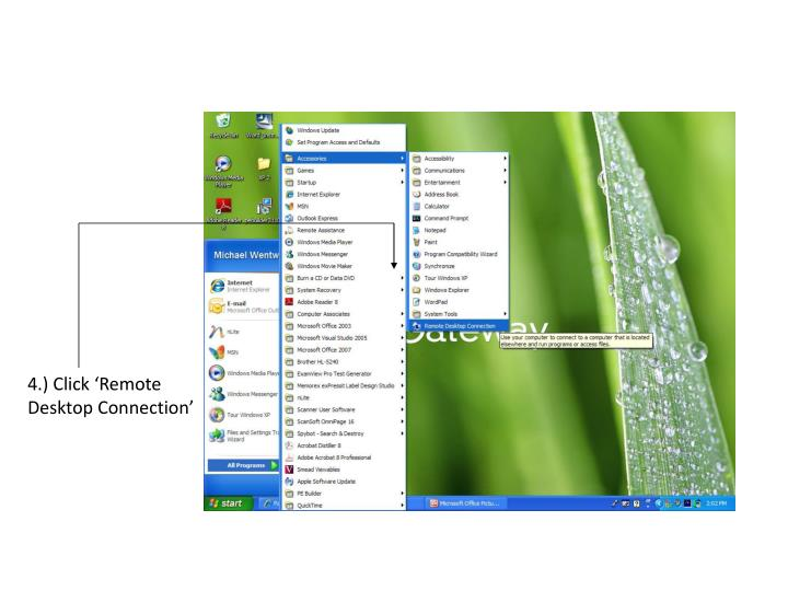 4.) Click 'Remote Desktop Connection'