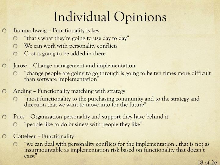 Individual Opinions