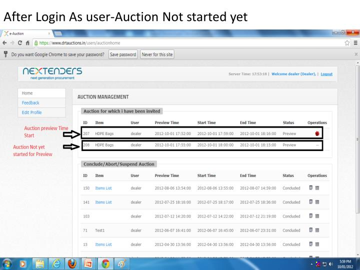 After Login As user-Auction Not started yet