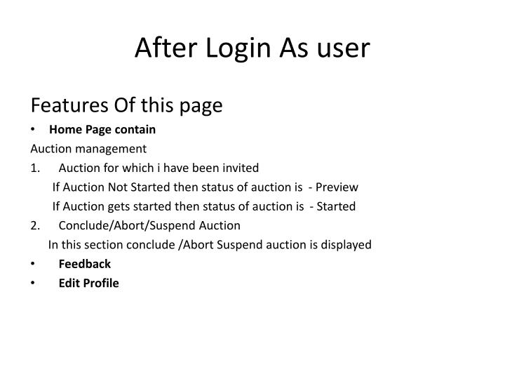 After Login As user