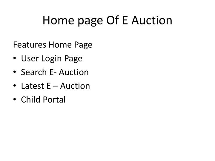 Home page of e auction