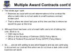multiple award contracts cont d