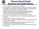 woman owned small business set aside history