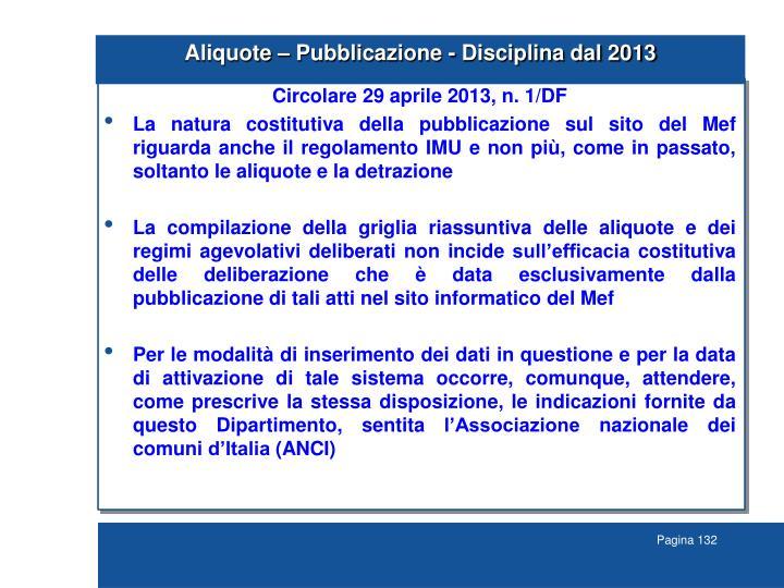 Aliquote – Pubblicazione - Disciplina dal 2013