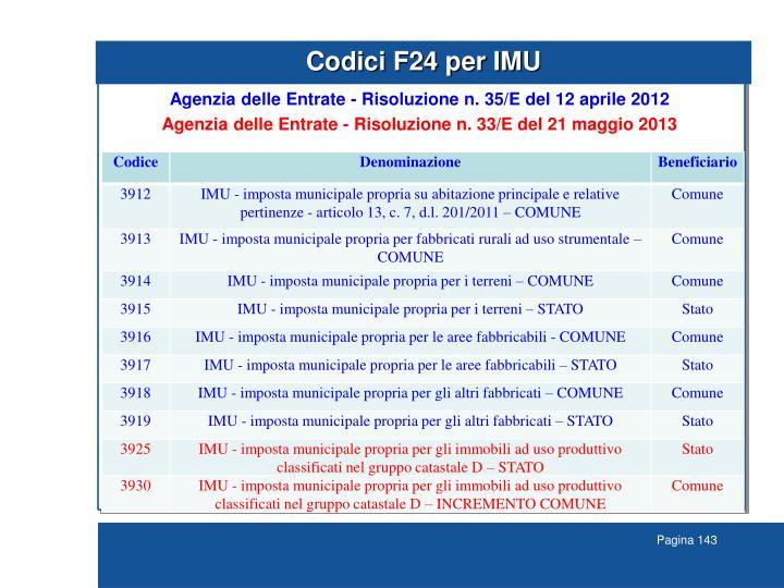 Codici F24 per IMU