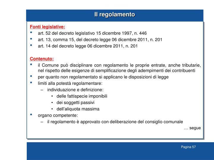 Il regolamento