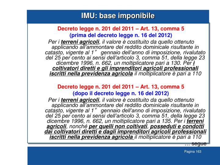 IMU: base imponibile