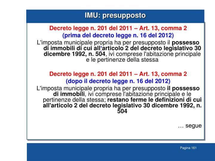 IMU: presupposto