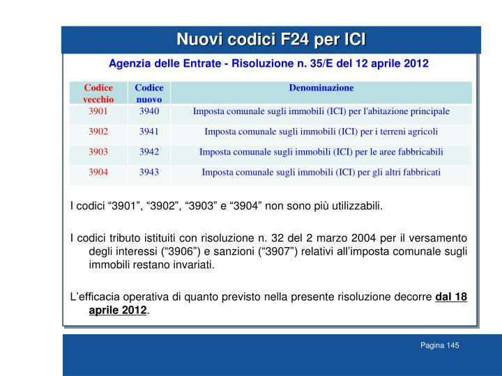 Nuovi codici F24 per ICI