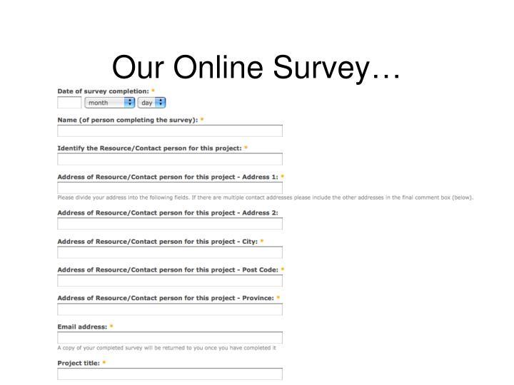 Our Online Survey…