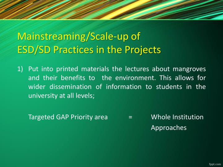 Mainstreaming/Scale-up of