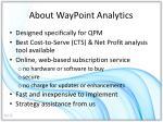 about waypoint analytics