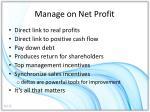 manage on net profit