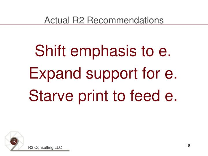Actual R2 Recommendations