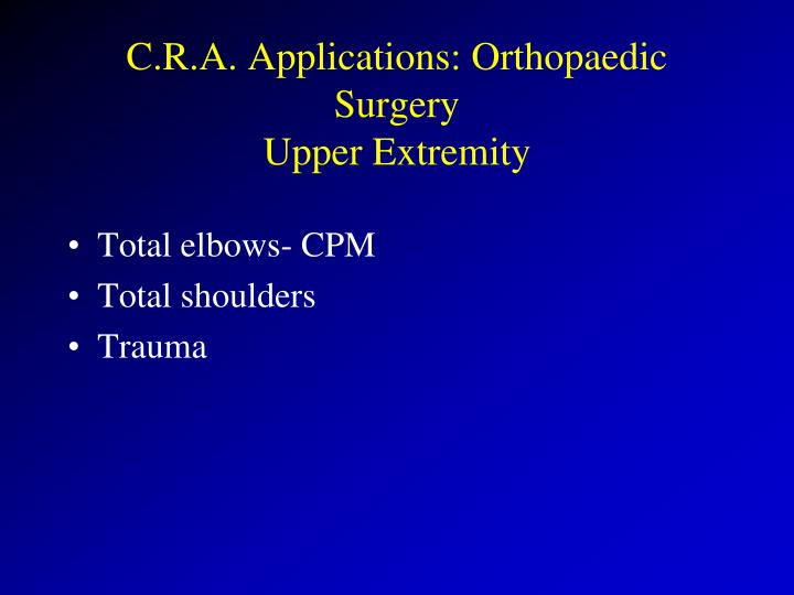 C.R.A. Applications: Orthopaedic Surgery