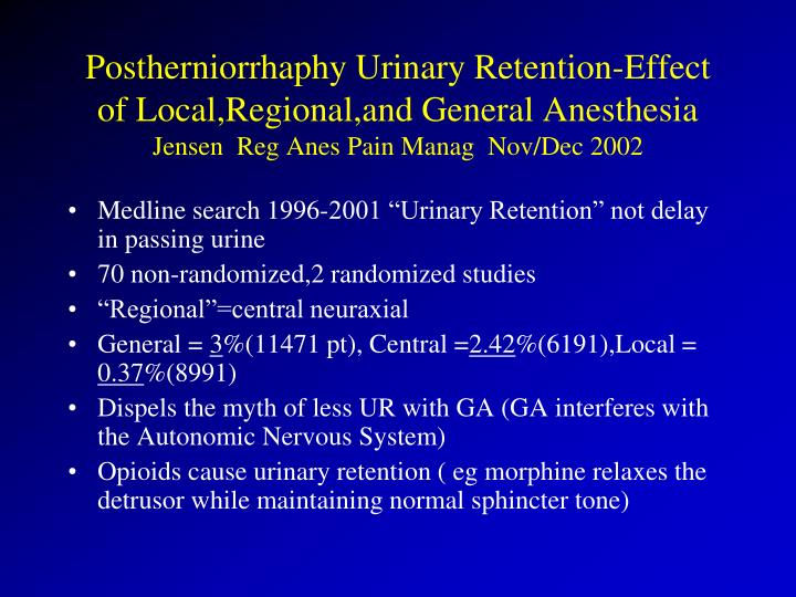 Postherniorrhaphy Urinary Retention-Effect of Local,Regional,and General Anesthesia