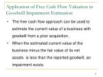 application of free cash flow valuation in goodwill impairment estimation