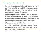 equity valuation contd