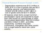 financial statement forecasts example contd
