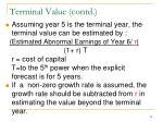 terminal value contd