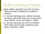 the role of earnings in valuation1