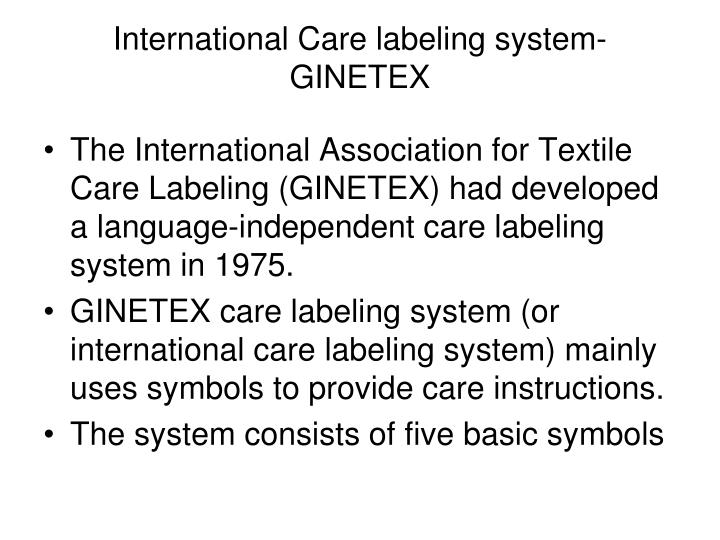 International Care labeling system-GINETEX