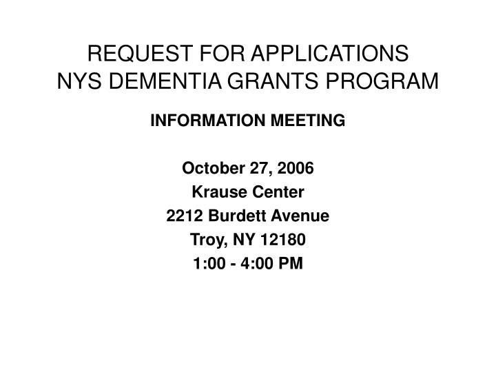 request for applications nys dementia grants program n.