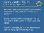 financial capability reviews why are they important