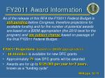 fy2011 award information