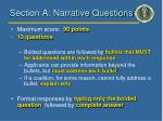 section a narrative questions