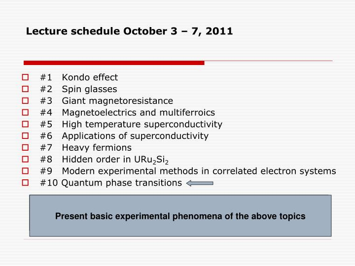 lecture schedule october 3 7 2011 n.
