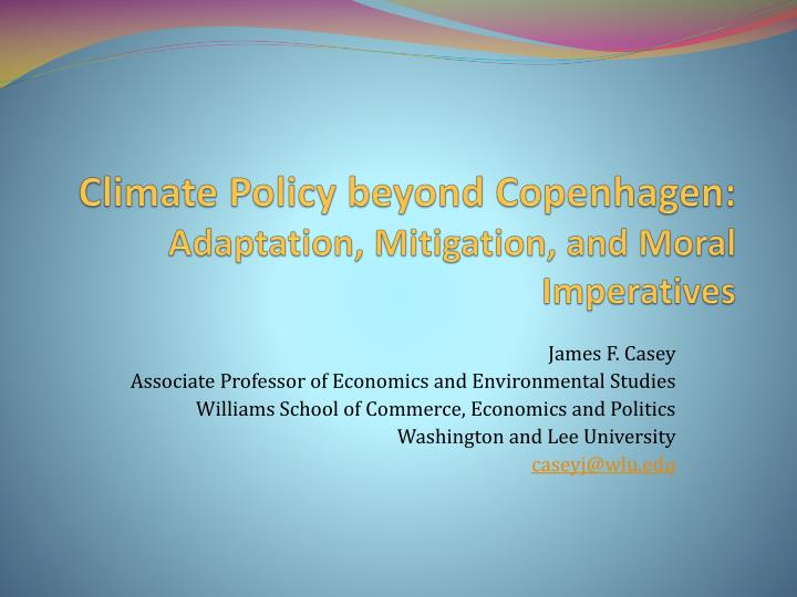 Climate policy beyond copenhagen adaptation mitigation and moral imperatives