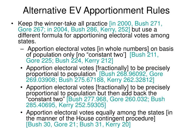 Alternative EV Apportionment Rules