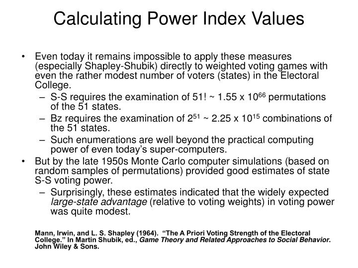 Calculating Power Index Values