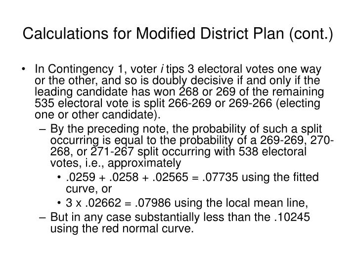 Calculations for Modified District Plan (cont.)