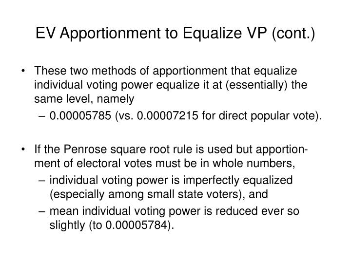 EV Apportionment to Equalize VP (cont.)