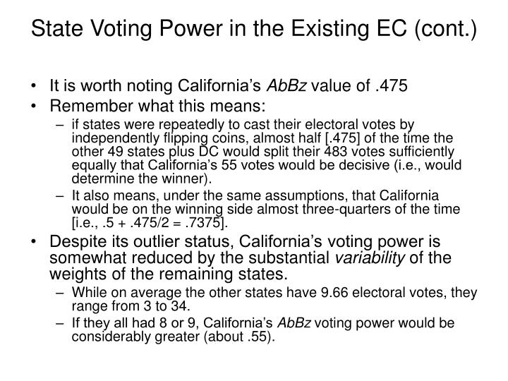 State Voting Power in the Existing EC (cont.)