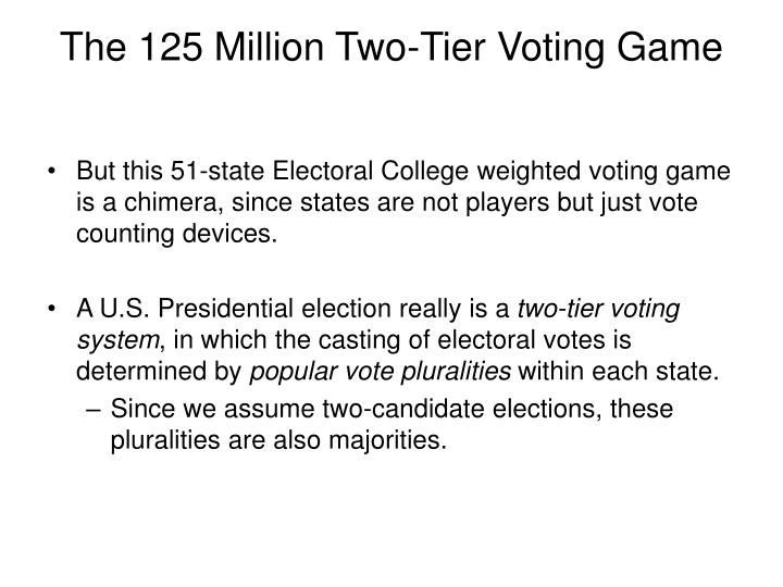The 125 Million Two-Tier Voting Game
