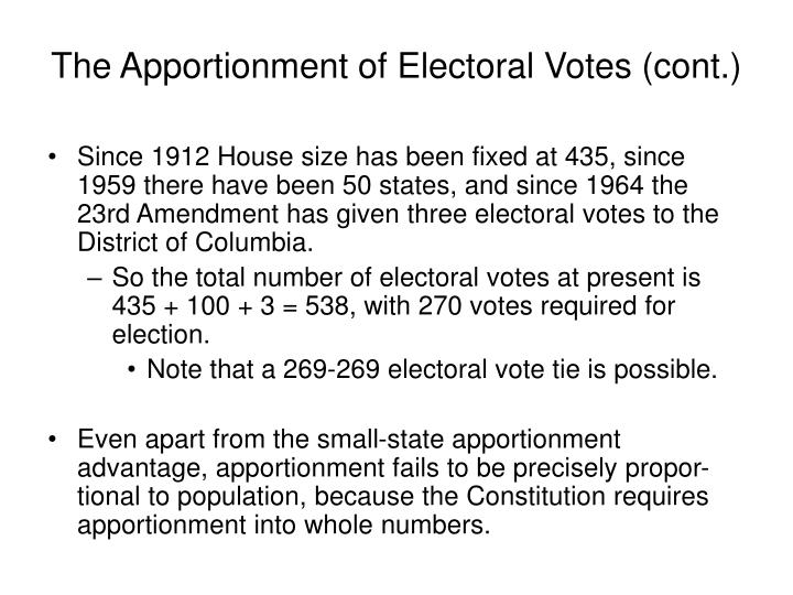 The Apportionment of Electoral Votes (cont.)