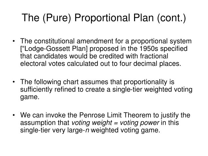 The (Pure) Proportional Plan (cont.)