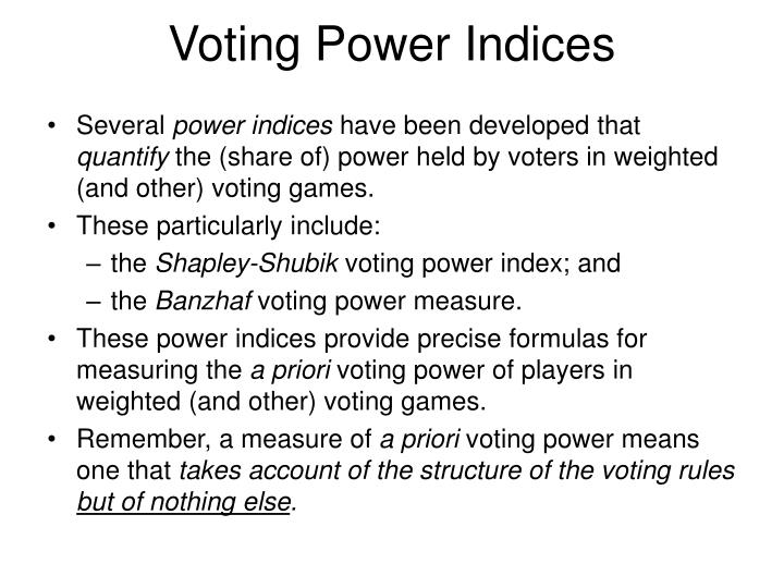 Voting Power Indices