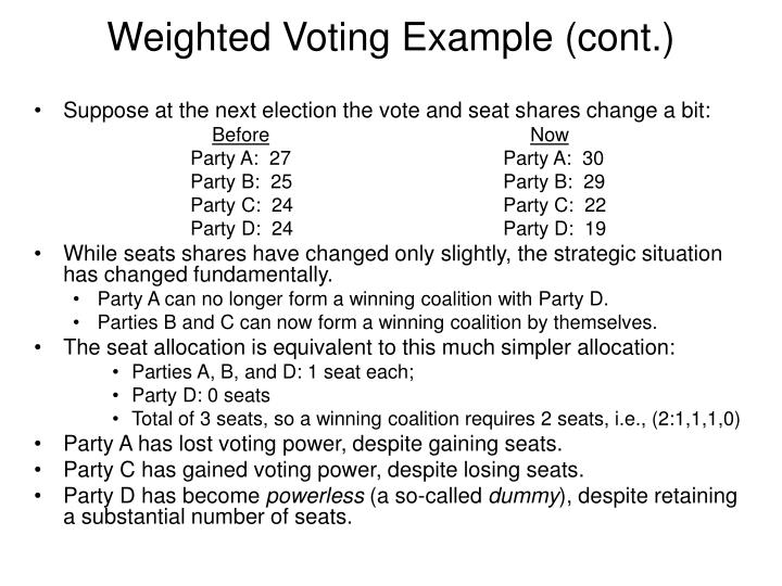 Weighted Voting Example (cont.)