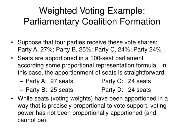 Weighted Voting Example: Parliamentary Coalition Formation