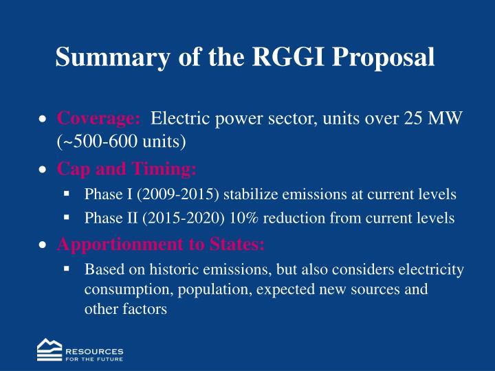 Summary of the RGGI Proposal