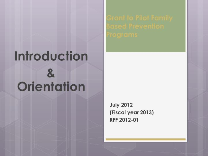 grant to pilot family based prevention programs n.